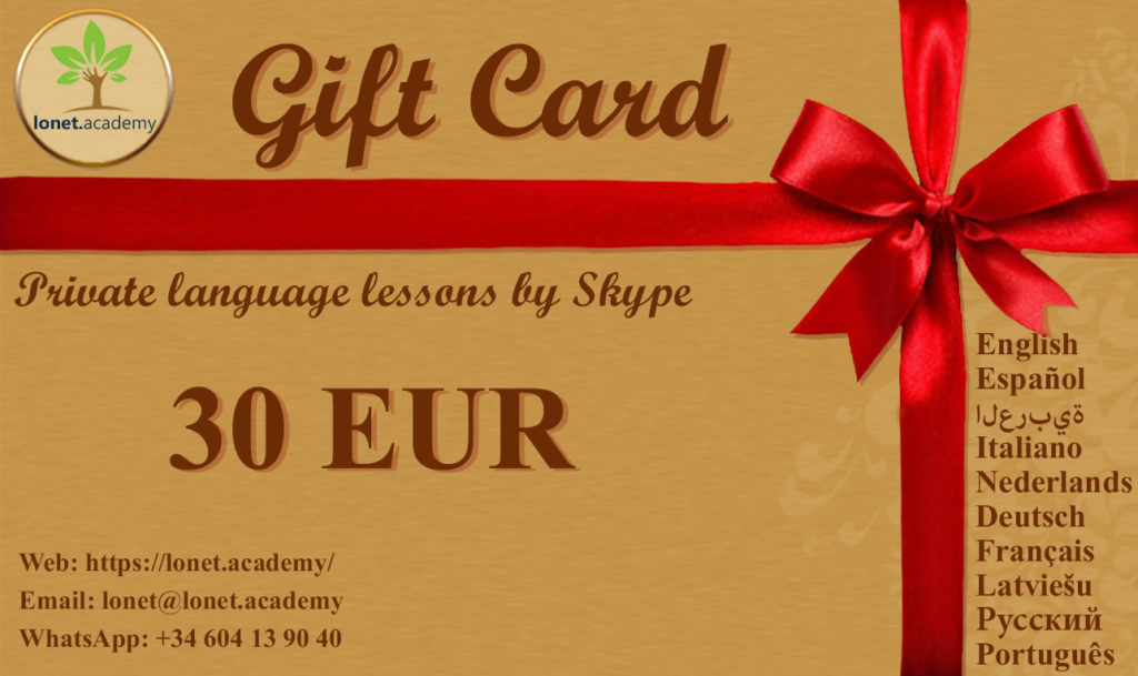 Buy a gift card for private language classes online at Lonet.Academy