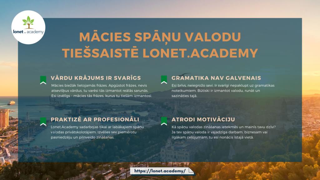 Learn Spanish online. Spāņu valodas kursi online at Lonet.Academy