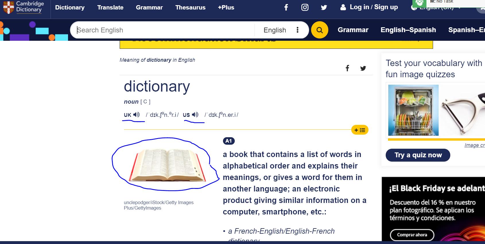 Cambridge Dictionary - хороший словарь по английскому для тех кто хочет быстро выучить английский язык.